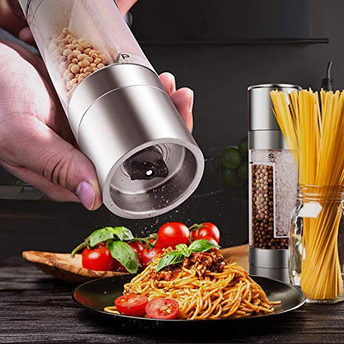 Handmatig Pepermolen 2 IN 1 Designs RVS Salt and Pepper Grinder Verstelbare Ceramic Spice Mill Kitchen kruiden Gereedschap