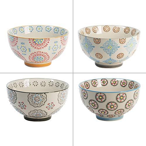 Table Passion - Coffret de 4 bols décors assortis bohème 14 cm