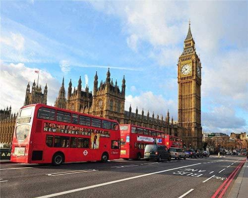 Puzzels 1000 stukjes Houten educatief spel Stress Reliever voor volwassen kinderen - London Big Ben City Street Bus Jigsaw
