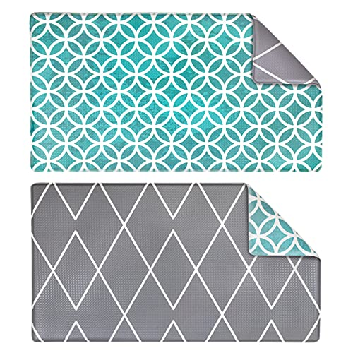 OPUX Anti Fatigue Kitchen Floor Mat | Reversible Comfort Standing Mat Home Desk | Decorative Ergonomic Padded Rug | Non Slip Waterproof Cushioned Pad | Geometric Teal Gray Decor 32x17.5 (One Mat Only)