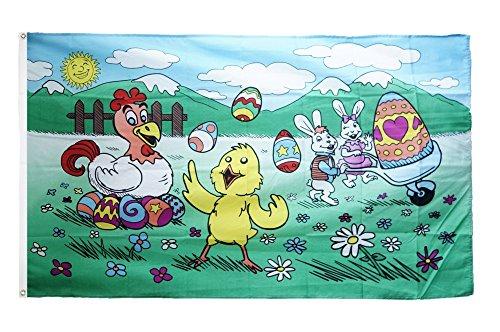 Flaggenfritze Fahne/Flagge Ostern mit Küken und Henne + gratis Sticker