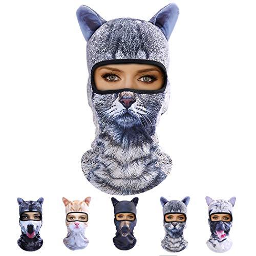 Outgeek Cat Mask, Women Men Balaclava Summer Full Face Hat Animal Ears Sports Helmet Climbing Fishing Cap