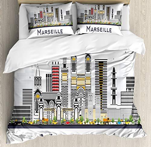 ABAKUHAUS Frankrijk Dekbedovertrekset, Skyline Afbeelding van Marseille, Decoratieve 3-delige Bedset met 2 Sierslopen, 200 cm x 200 cm, Wit en Multicolor