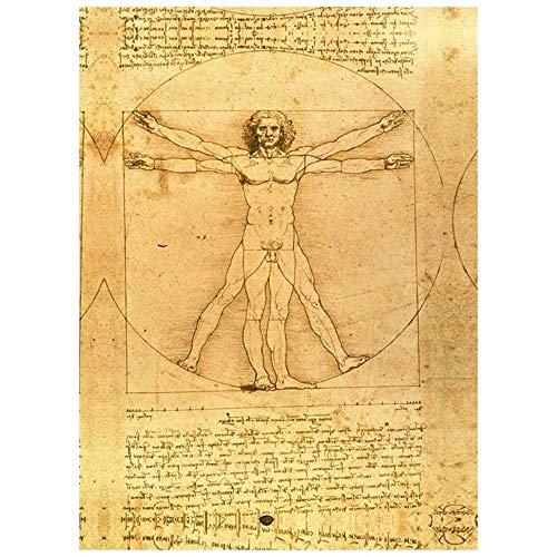 Legendarte Cuadro Lienzo, Impresión Digital - El Hombre Vitruvio - Leonardo da Vinci cm. 60x90 - Decoración Pared