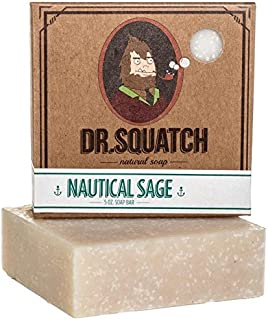 Natural Sage Soap for Men – Nautical Sage – Revitalizing Scent with Cypress, Lavender, Clary Sage Organic Oils – Bar Handmade in USA by Dr. Squatch