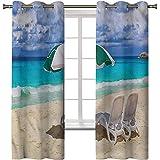Cortinas opacas impresas en 3D, tratamiento térmico para ventana, costa, costa exótica del Caribe, 2 paneles de 38 x 45 pulgadas, cortinas opacas con ojales para sala de estar