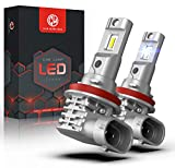 Car Work Box Fanless H11 LED Headlight Bulbs, Wireless H8 H9 All-in-One Conversion Kit, CSP Chips 10000LM 6500K Xenon White