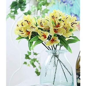 Silk Flower Arrangements Skyseen 5Pcs Artificial Narcissus Lily Fake Alstroemeria Flowers Wedding Home Décor