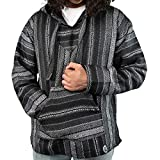 Orizaba Original Baja Hoodie Drug Rug - Black White Grey Silver Diamond - Punta Conejo 3XL