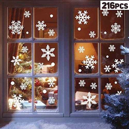Vijamiy 216 Schneeflocken Fensterbild für Winter und Weihnachten Fensterdeko Set Statisch PVC Aufkleber Winter Dekoration Fensterbilder für Weihnachten Schneeflocken mit Fensterdeko