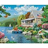 ZXDA Marco Lakeside Villa DIY Pintura por números Pintura de Paisaje por número Regalo Pintado a Mano decoración de Pared Marco Obra de Arte A1 50x65cm