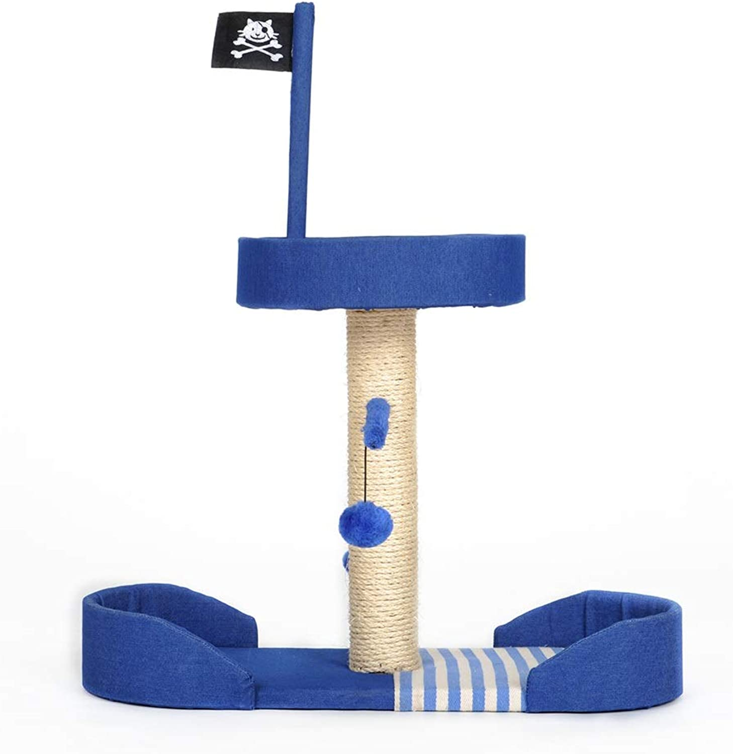 RKY Cat tree Ocean style cat climbing frame cat toy cat jumping platform cat tree cat resting nest sisal rope toy with funny cat ball 2 styles optional    (Size   65  28  75.5cm)