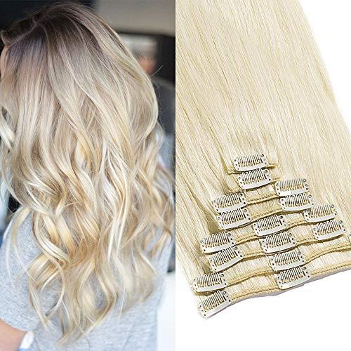 TESS Clip in Extensions Echthaar Haarteile Haarverlängerung Standard Weft Grad 7A Lang Glatt guenstig Remy Human Hair 8 Tressen 18 Clips 33cm-80g(#60 Weißblond)