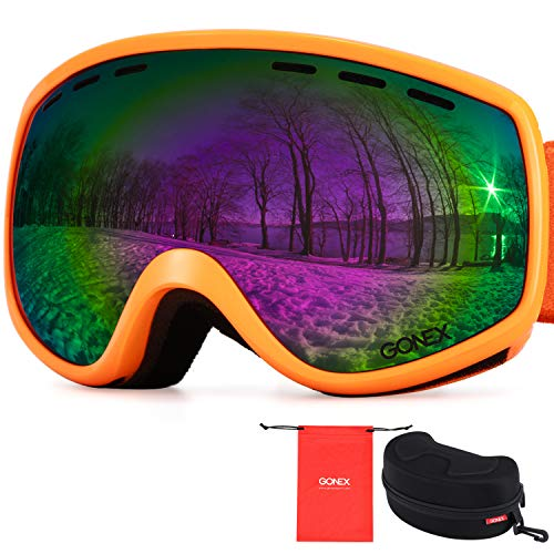 Gonex Kids Safety Ski Goggles for Protection, Protective Snowboard Goggles for Toddler Boys Girls, Anti-Fog Windproof UV400 Protection with Double Spherical Lens with Goggle Case (Orange)