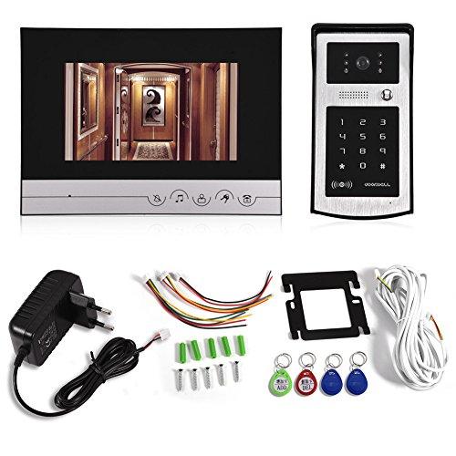 Zerone Videoportero Intercom Timbre de Puerta Sistema, 7LCD HD Visual vídeo cámara Timbre Sistema de visión Nocturna Seguro Lock Resistente al Agua con RFID de Tarjetas