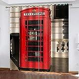 Yeesovs® Tratamiento De La Ventana Cortina Blackout Súper Suave Pintura Moderna Cabina De Teléfono Roja Impresión 3D Cortinas con Ojales con Aislamiento Térmico 280X250Cm(W*H)