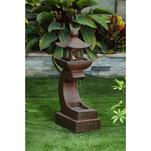 Winsome House Asian Pagoda 30.9' Patio Fountain with LED Light in Dark Bronze