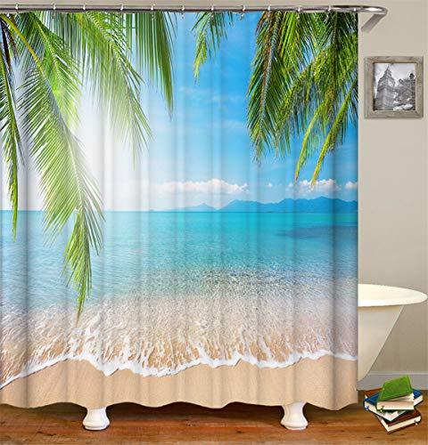 Fansu Duschvorhang Wasserdicht Anti-Schimmel Anti-Bakteriell, 3D Drucken 100% Polyester Bad Vorhang für Badzimmer mit C-Form Kunststoff Haken (90x180cm,Ozean Strand D)