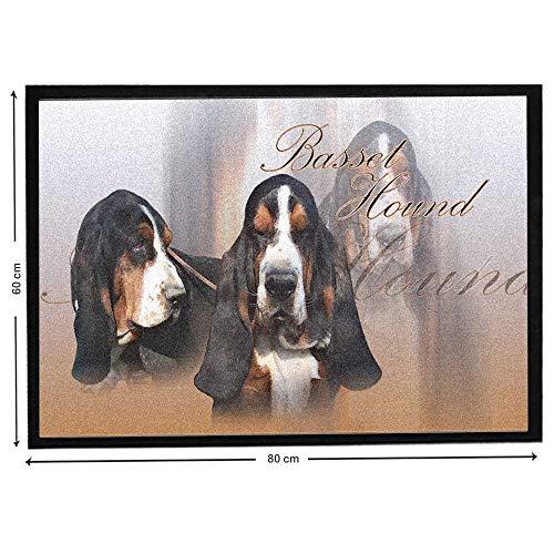 Pets-easy Basset Hound Tricolor sur Tapis de Chien Courant