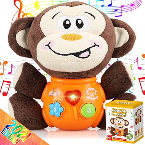 Insnug Plush Monkey Musical Baby Toys - Educational Montessori Stuffed Animal Light Up Toys Small Fun Sensory Brain Development for Newborn Infants Babies Toddlers Girls Boys 0 3 6 8 12 18 36 Months