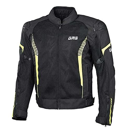 gms Samu Herren Motorradjacke mit Protektoren - Textil aus Mesh Gewebe mit GERMADURA 600D, Sommerjacke mit Thermoweste, Farbe:schwarz-gelb, Größe:XL