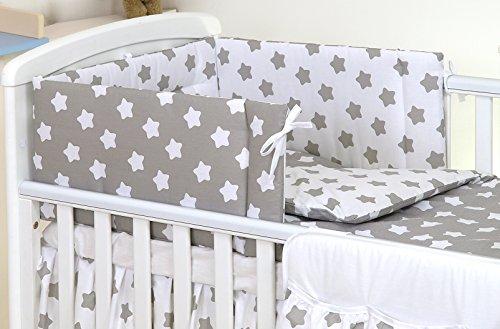 3 PIÈCES Ensemble literie pour lit d'enfant & lit bébé linge de lit 100% Coton (Gris Blanc Grandes Etoiles, 140x70cm)