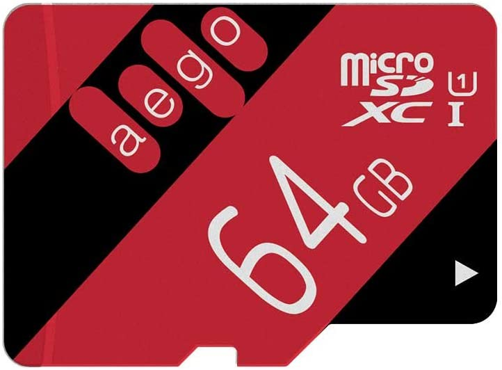 AEGO 64GB Micro SD Card UHS-1 microSD Memory Card Class 10 for Tablets/GoPro with Adapter-U1 64GB