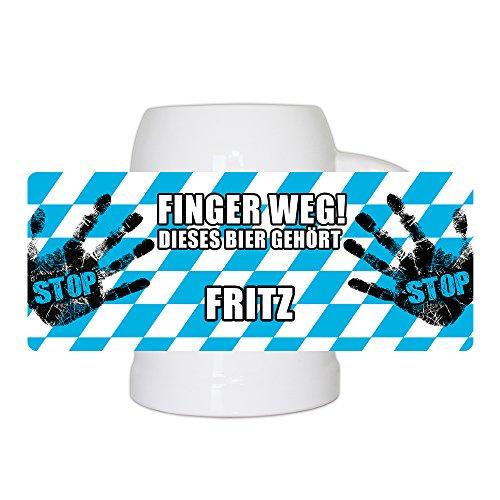 Lustiger Bierkrug mit Namen Fritz und schönem Motiv Finger weg! Dieses Bier gehört Fritz | Bier-Humpen | Bier-Seidel