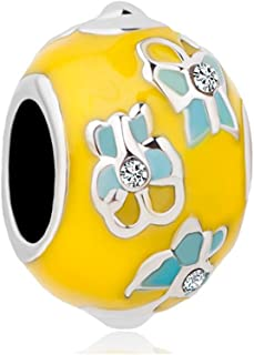 LilyJewelry Easter Yellow Faberge Egg Butterfly Charm Beads for Bracelets