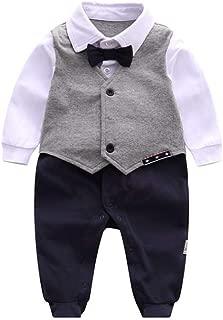 ALLAIBB Newborn Baby Boy Gentleman Outfit Romper Footie Formal Dress Jumpsuit Bowtie Size 73(6-9M) (Gray)