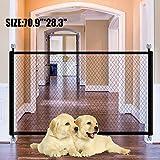 Puerta mágica para mascotas o bebés, plegable y portátil, ideal para perros o gatos, en escaleras en interiores y exteriores, 110 x 72 cm