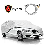 KAKIT Car Cover for Sedan Outdoor, Auto Vehicle Cover Univelsal Fit Windproof/UV Resistant/Waterproof/Dustproof, Free Windproof Ribbon & Anti-Theft Lock,Fits 185' - 199'