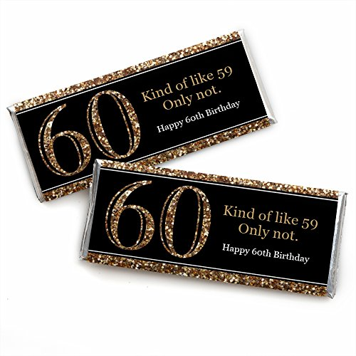 Adult 60th Birthday - Gold - Candy Bar Wrappers Birthday Party Favors - Set of 24