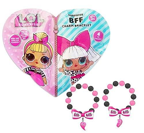 L.O.L. Surprise ! Freundschaftsarmbänder für 2 | 2er Set Best Friends BFF Armbänder mit Anhänger Freundschaft | LOL Puppenzubehör Schmuck für Kinder | 1 Zufällige Packung Geliefert