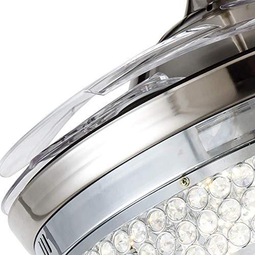 Ventilador de techo de cristal de 100 cm con luz LED regulable, retráctil, mando a distancia, lámpara de araña para salón