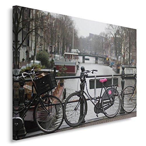 Feeby. Wandbild - 1 Teilig - 80x120 cm, Leinwand Bild Leinwandbilder Bilder Wandbilder Kunstdruck, FAHRRÄDER, Amsterdam, SCHWARZ