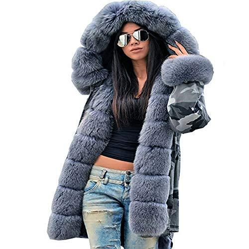 FRAUIT Winter Tarnung Verdicken Kapuze Daunenjacke Damen Steppjacke Daunenmantel Parka Lange Jacke Outwear Kapuzenmantel Warm Bequem M-3XL