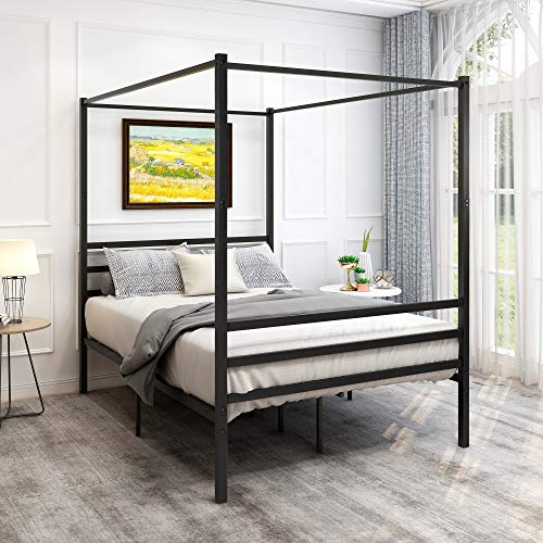 Canopy Bed Frame Platform Bed Frame Morden Design /Heavy Duty Steel Slat and Support with Headboard and Footboard /No Box Spring Needed/ Easy Assembly(Full, Black)