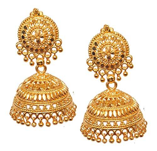 Pahal - Pendientes tradicionales grandes bañados en oro Jhumka del sur de la India Bollywood joyería de novia para mujer (diseño 6)