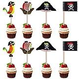 40 PCS Piratas Pastel Topper, Decoración Torta Pirata de Toppers, para Niños...