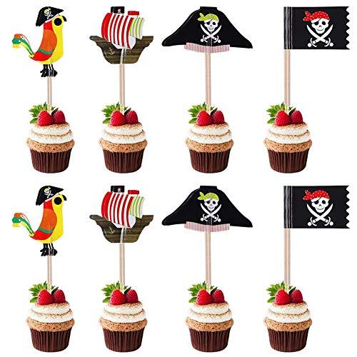 40 PCS Piratas Pastel Topper, Decoración Torta Pirata de Toppers, para Niños Ducha Bebé Fiesta Cumpleaños Decoración Suministros