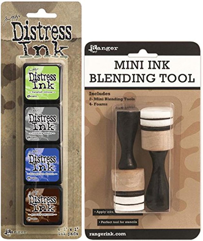 Ranger Tim Holtz Distress Mini Ink Kits and Mini Ink Blending Tool Bundle - 2 Items (Kit 14)