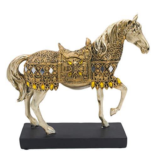 TZSHUQ Modern Creatief Hars Gouden Wandelen Paard Beeldje Beeld Dier Sculptuur Thuis Kantoor Desktop Decoratie Gift