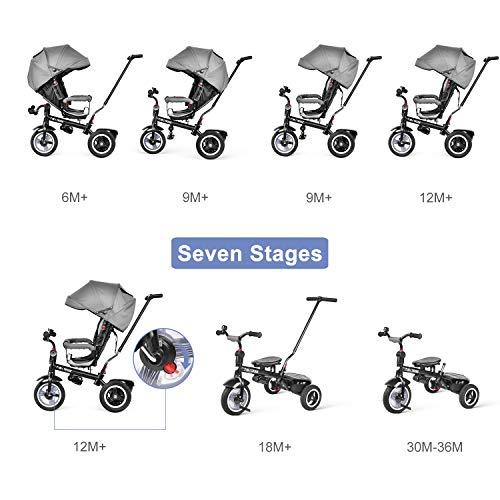 besrey Tricycle Evolutif Bébé 7 en 1 Vélo Enfant Garçon Fille Réversible Multifonctionnel, 9 Mois - 6 Ans