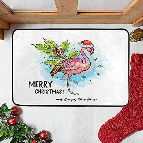 Merry Christmas Flamingo Doormat Indoor Door Mats 23.6 x 15.7 inch Winter Snowflake Red Berry Floor Mats Entry Way Welcome Doormats Bath Pad for Kitchen Bathroom Home Decor
