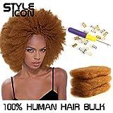 Style Icon 3 Bundles Afro Kinkys Bulk Human Hair - Afro Twist Braiding Hair - Afro Bulk Braiding Hair Dreadlocks - Loc Braiding Hair (12'/12'/12', Light Brown 30#)