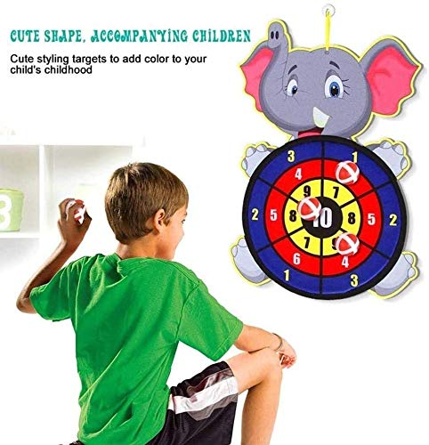 YYANG Best Sticky Darts Board Set Sports Toys Fabric Double Sided Ball Dart Board Set Kid Ball Target Game Children Security Toy Gift (Color : Elephant)