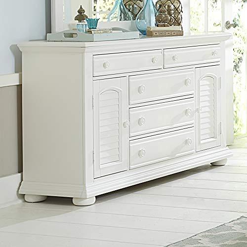 "Liberty Furniture Industries Summer House I 2 Door 5 Drawer Dresser, 66"" x 18"" x 37"", Oyster White"