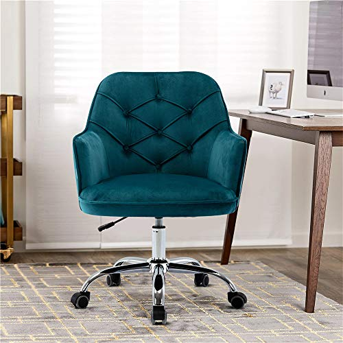 Goujxcy Home Office Chair,Velvet Desk Chair with Metal Base,Modern Adjustable Swivel Chair (Lake...