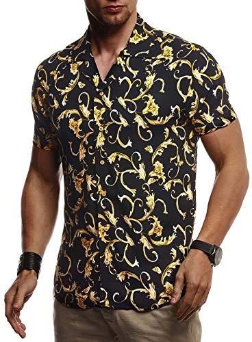 Leif Nelson Herren Hemd Kurzarm Oversize Kentkragen Stylisches Männer Hawaiihemd Stretch Kurzarmhemd Jungen Basic Shirt Freizeit Urlaub Sommerhemd Freizeithemd LN3680 Schwarz Medium